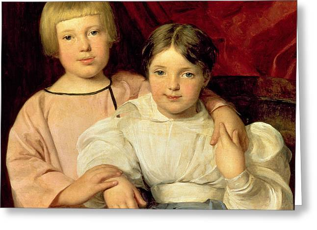 Little Sister Greeting Cards - Children Greeting Card by Ferdinand Georg Waldmuller