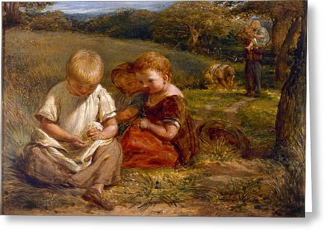 Children Gathering Wild Flowers Greeting Card by George Smith