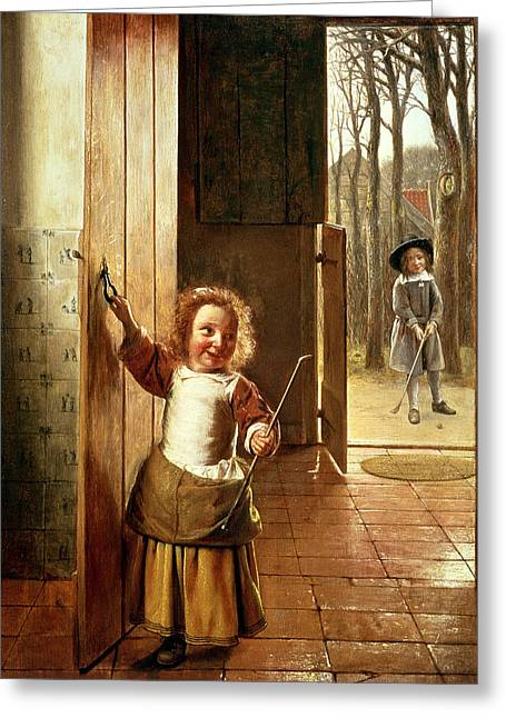 Golfing Photographs Greeting Cards - Children In A Doorway With Golf Sticks, C.1658-60 Oil On Panel Greeting Card by Pieter de Hooch