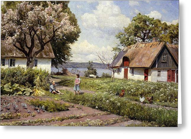 1930s Paintings Greeting Cards - Children in a Farmyard Greeting Card by Peder Monsted