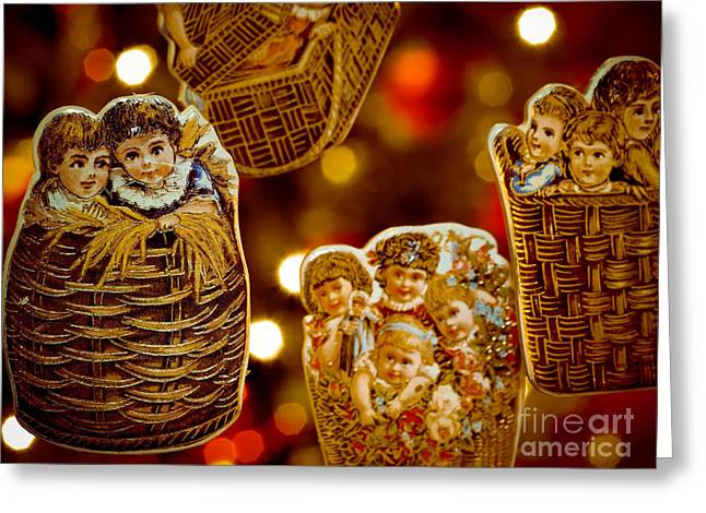 Victorian Greeting Cards - Children in Baskets Greeting Card by Amy Cicconi