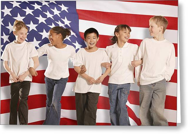 Ethnic Diversity Greeting Cards - Children In Front Of American Flag Greeting Card by Don Hammond