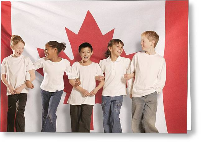 Ethnic Diversity Greeting Cards - Children In Front Of Canadian Flag Greeting Card by Don Hammond