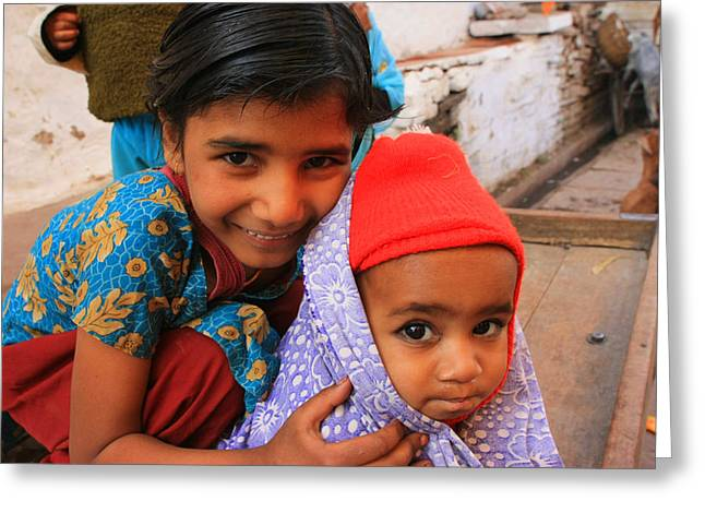 Children In Orchha India Greeting Card by Amanda Stadther