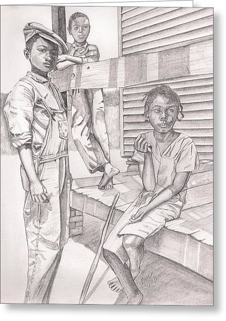 Overalls Drawings Greeting Cards - Children of the Past Greeting Card by Beverly Marshall