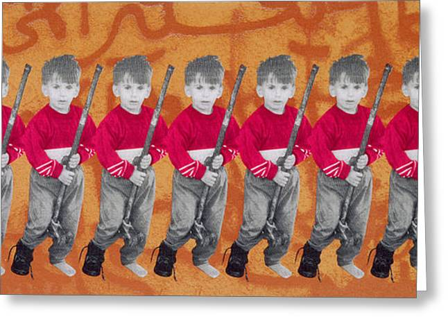 Middle East Photographs Greeting Cards - Children Of War, Children Of Peace, 1996 Silkscreen On Canvas See Also 279271 Greeting Card by Laila Shawa