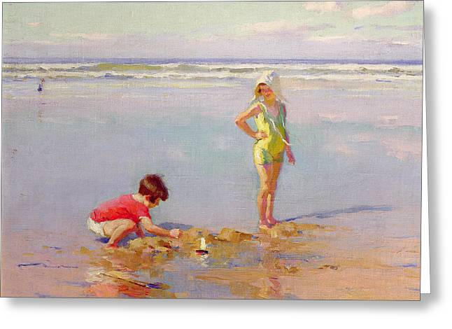 Buildings By The Ocean Greeting Cards - Children on the Beach Greeting Card by Charles-Garabed Atamian