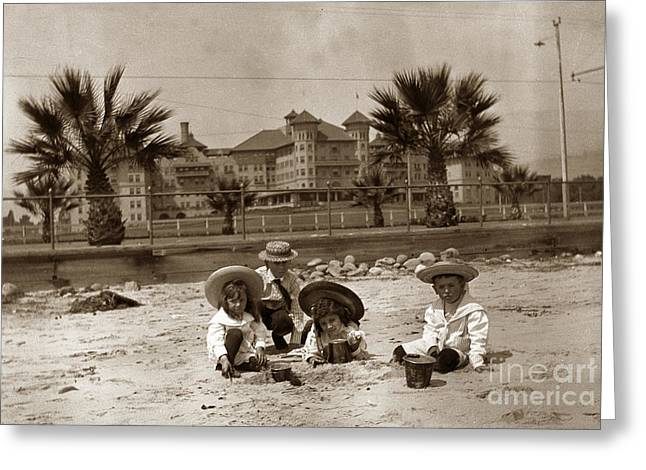 Beach In Santa Barbara Greeting Cards - Children on the Santa Barbara beach in front of the Potter Hotel circa 1915 Greeting Card by California Views Mr Pat Hathaway Archives