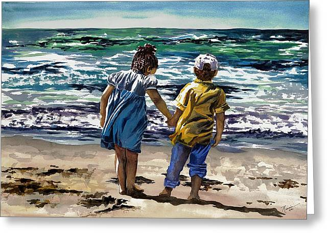 Biracial Art Greeting Cards - Children on the Beach Greeting Card by Maureen Dean