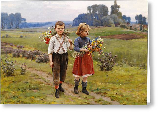 Red Skirt Greeting Cards - Children On The Way Home Greeting Card by Cesar Pattein