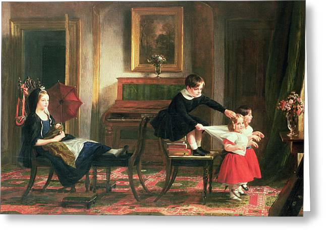 Little Sister Greeting Cards - Children playing at coach and horses Greeting Card by Charles Robert Leslie