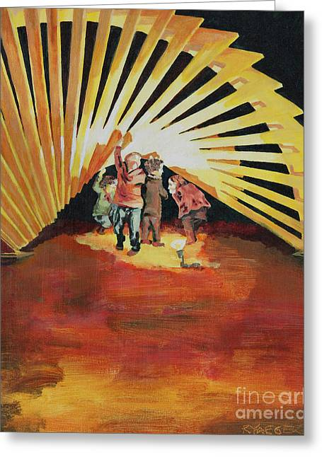 Charlotte Paintings Greeting Cards - Children Playing at Sculpture Greeting Card by Robert Yaeger