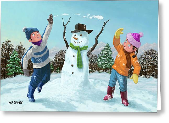 children playing in snow Greeting Card by Martin Davey