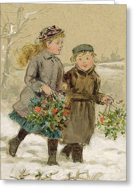 Gathering Greeting Cards - Children Playing in the Snow  Greeting Card by George Goodwin Kilburne