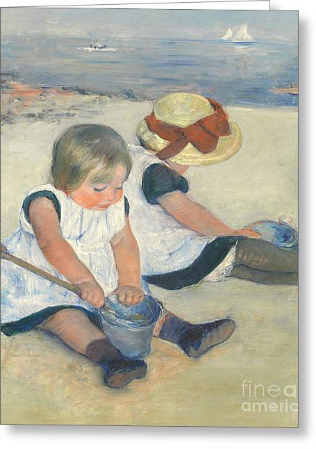 Straw Greeting Cards - Children Playing on the Beach Greeting Card by Mary Stevenson Cassatt