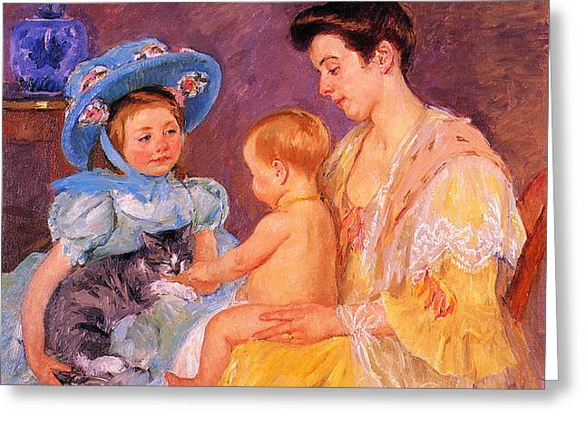 Children Playing With A Cat Greeting Card by Marry Cassatt
