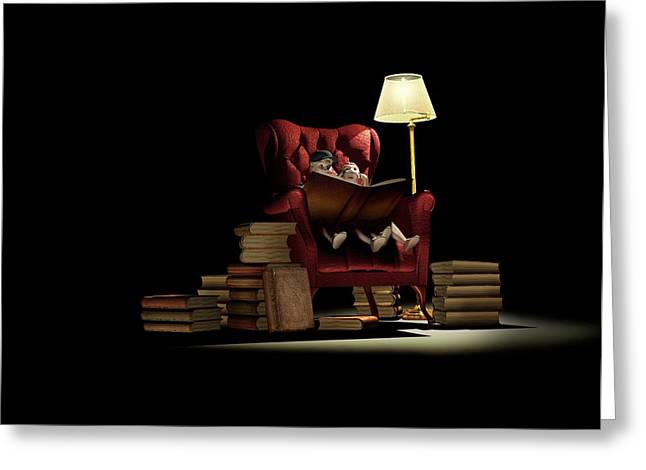 Children Reading At Night Greeting Card by Mikkel Juul Jensen