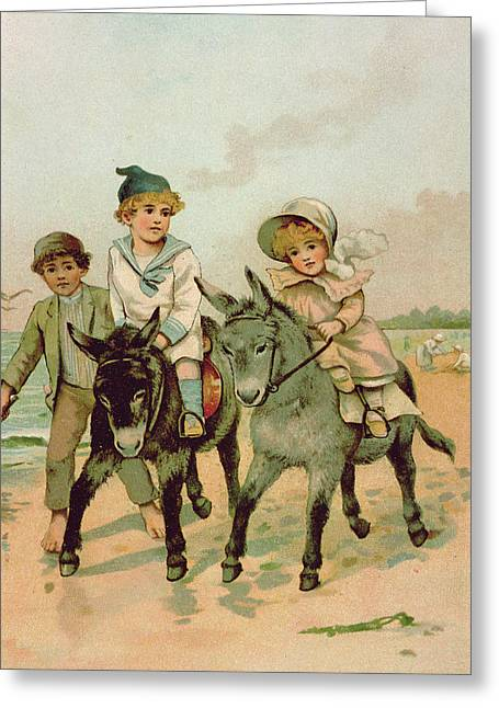 Side Saddle Greeting Cards - Children Riding Donkeys At The Seaside Greeting Card by Harriet M. Bennett