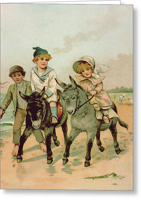 Children Riding Donkeys At The Seaside Greeting Card by Harriet M Bennett