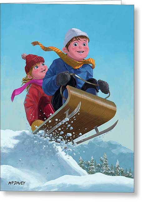 Children Snow Sleigh Ride Greeting Card by Martin Davey