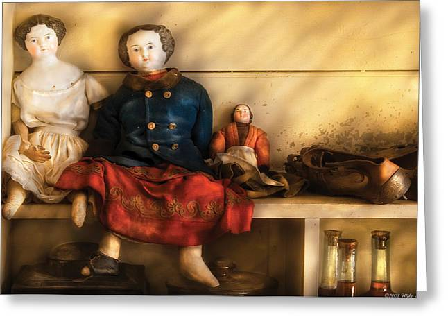 Children - Toys - Assorted Dolls Greeting Card by Mike Savad