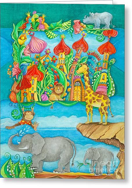 Childsroom Greeting Cards - Children Zoo Greeting Card by Sonja Mengkowski