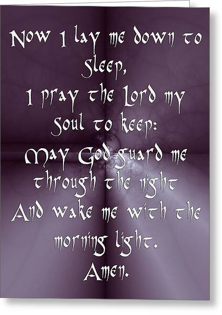 O Lord Greeting Cards - Childrens Bedtime Prayer  Greeting Card by Sir Josef  Putsche