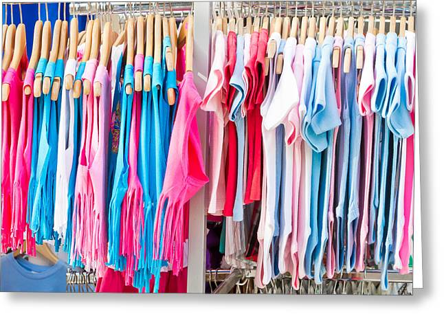Rack Greeting Cards - Childrens clothes Greeting Card by Tom Gowanlock