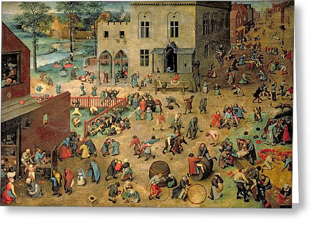 Saw Greeting Cards - Childrens Games Kinderspiele, 1560 Oil On Panel Greeting Card by Pieter the Elder Bruegel