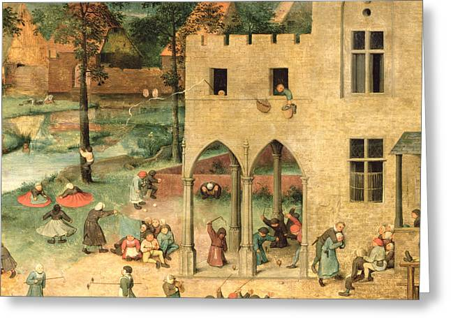 Urinating Greeting Cards - Childrens Games Kinderspiele Detail Of Top Left-hand Corner Showing Children Spinning Tops Greeting Card by Pieter the Elder Bruegel
