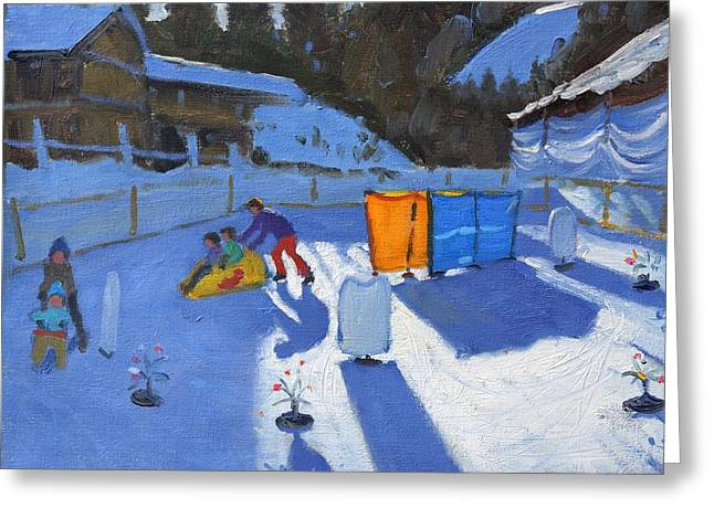 Sledge Greeting Cards - Childrens ice rink Greeting Card by Andrew Macara