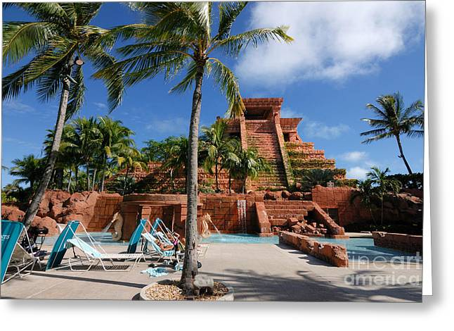 Lounge Chairs Greeting Cards - Childrens Pool at the Mayan Temple Atlantis Resort Greeting Card by Amy Cicconi