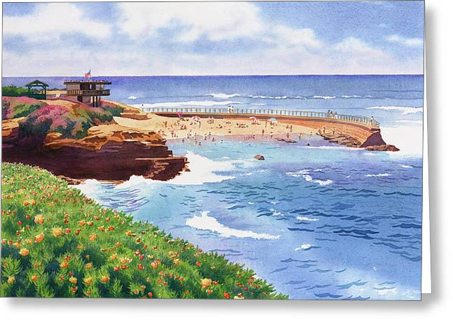 Southern California Beach Greeting Cards - Childrens Pool in La Jolla Greeting Card by Mary Helmreich