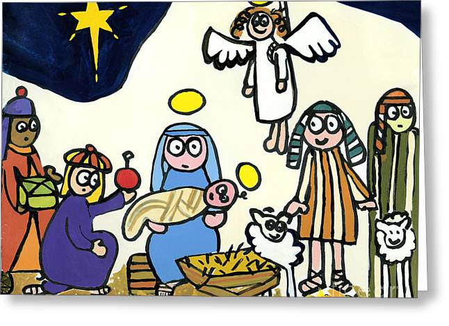 Angels Of Christmas Greeting Cards - Childrens School Nativity Play Greeting Card by Jane Freeman