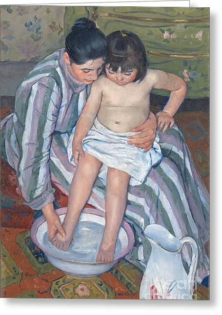 Childhood Art Greeting Cards - Childs bath 1893 Greeting Card by  Mary Stevenson Cassatt