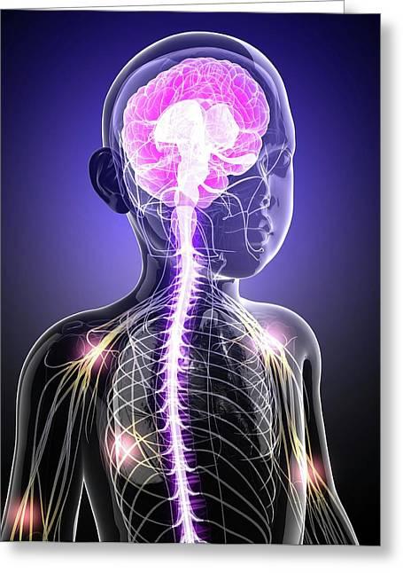 Child's Central Nervous System Greeting Card by Pixologicstudio