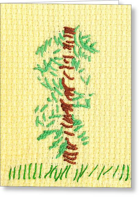 Cross Tapestries - Textiles Greeting Cards - Childs embroidery Greeting Card by Kerstin Ivarsson