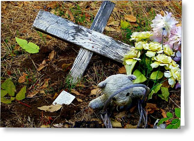 Cross On The Grave Greeting Cards - Childs Grave Greeting Card by Jeff Lowe