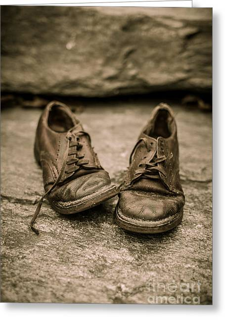 Lace Shoes Greeting Cards - Childs old leather shoes Greeting Card by Edward Fielding