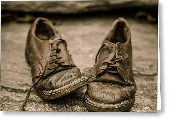 Child's old leather shoes Greeting Card by Edward Fielding