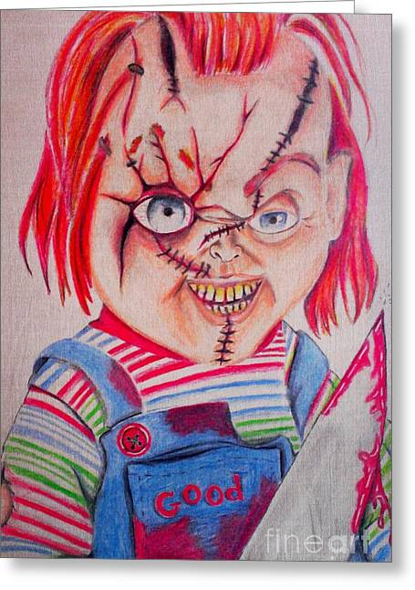 Serial Killer Mixed Media Greeting Cards - Childs Play 2 Greeting Card by Denisse Del Mar Guevara