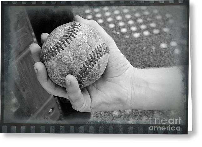 Fastball Grip Greeting Cards - Childs Play - Baseball Black and White Greeting Card by Ella Kaye Dickey