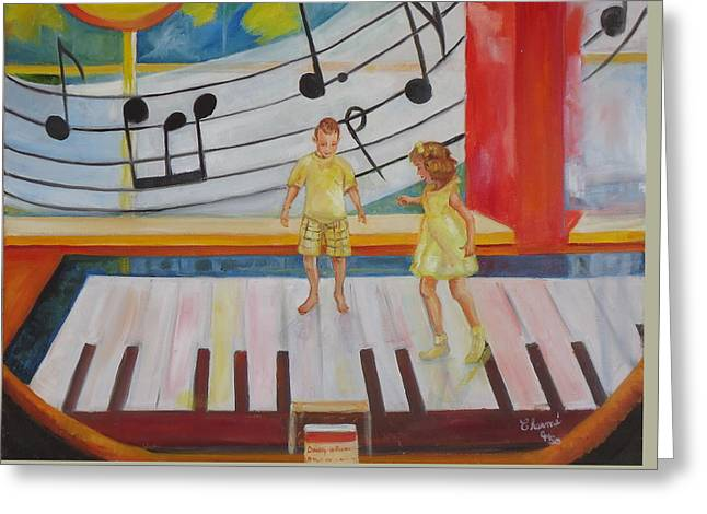 Giant Piano Greeting Cards - Childs Play Greeting Card by Charme Curtin