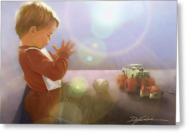 Boy Praying Greeting Cards - Childs Prayer Greeting Card by Danny  Hahlbohm