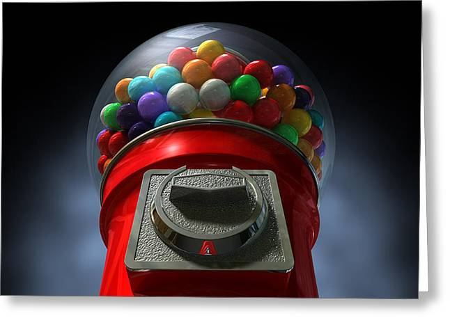 Coins Greeting Cards - Childs View Of The Gumball MAchine Greeting Card by Allan Swart