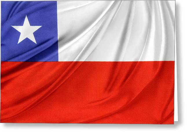 Waving Flag Greeting Cards - Chile flag  Greeting Card by Les Cunliffe