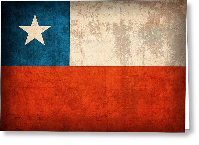 Chile Greeting Cards - Chile Flag Vintage Distressed Finish Greeting Card by Design Turnpike
