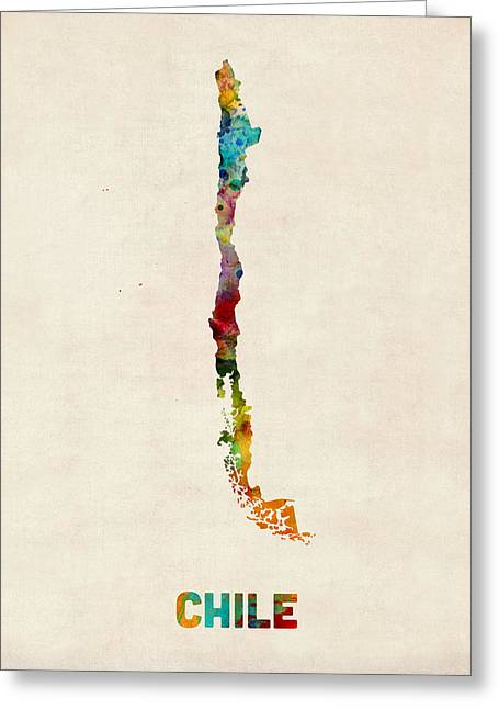 Chile Greeting Cards - Chile Watercolor Map Greeting Card by Michael Tompsett