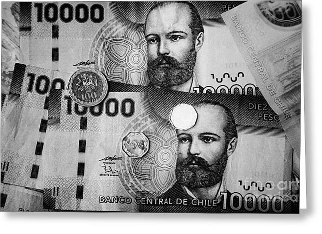 Coins Greeting Cards - Chilean Peso Notes And Coins Greeting Card by Joe Fox