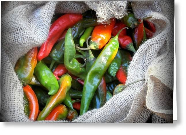 Green Chile Greeting Cards - Chiles Greeting Card by Karyn Robinson